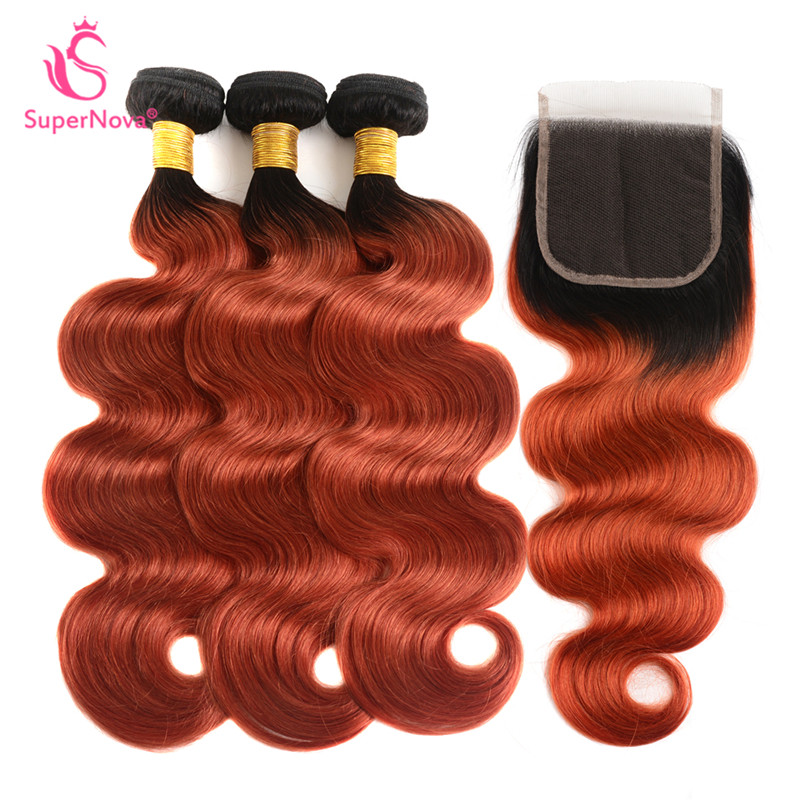 1b350 Color Ombre Human Hair 3 Bundles With Closure Body Wave Weave