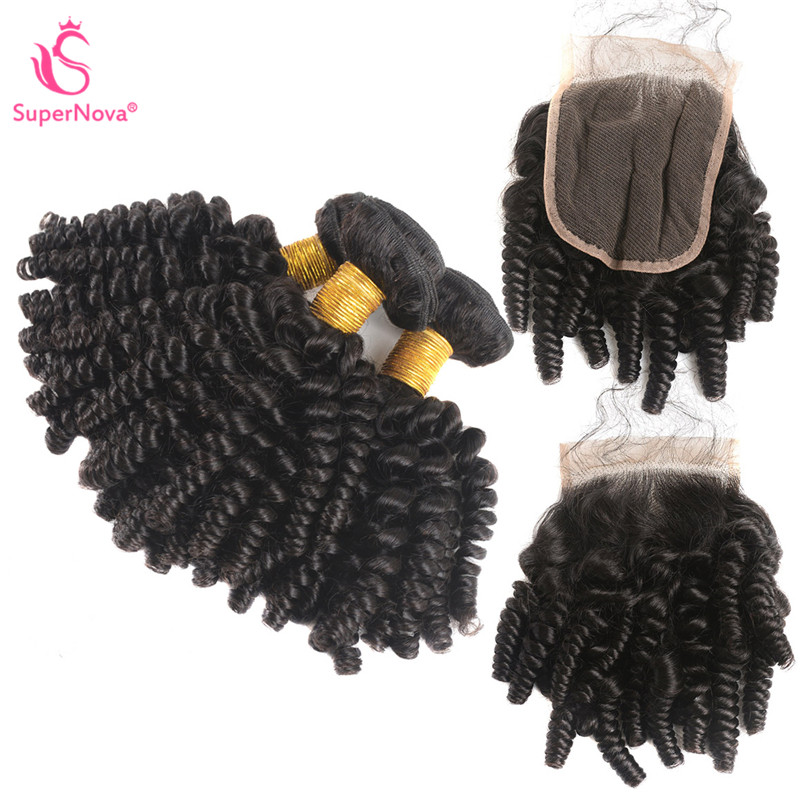 Fumi Hair Weave Afro Kinky Curly Hair 3 Bundles With 44 Lace