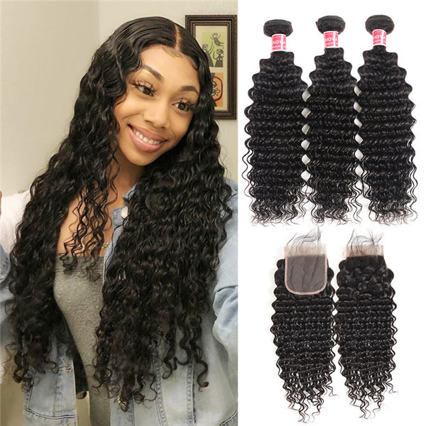 Brazilian Virgin Hair Deep Wave 3 Bundles With Lace Closure 100% Human Hair  -SuperNova Hair