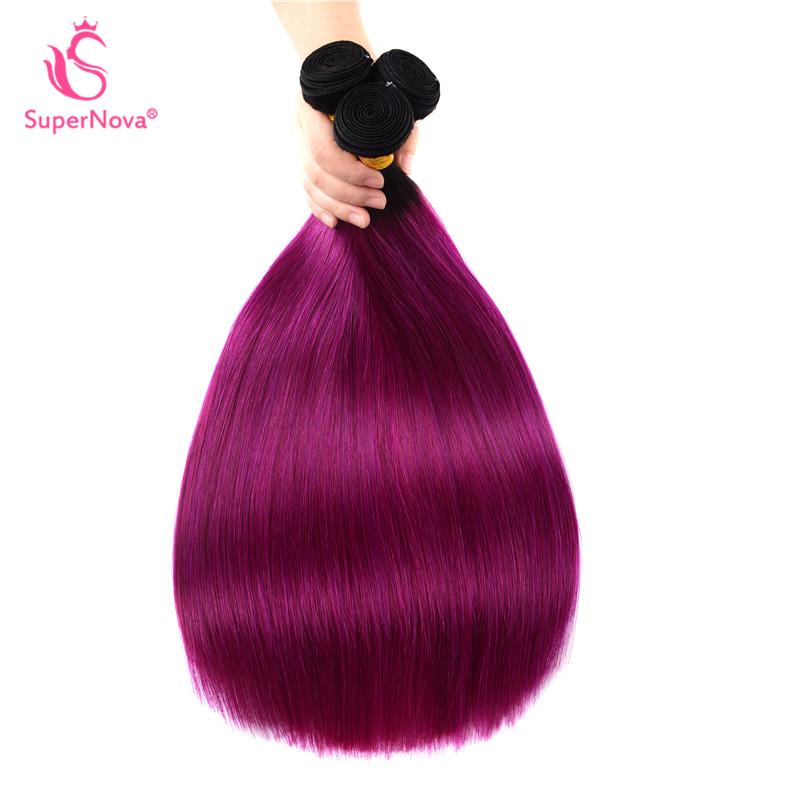 Ombre Weave 1bpurple Straight Human Weave Hairstyles 3 Bundles