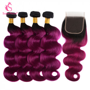 1b purple body wave hair bundles with closure