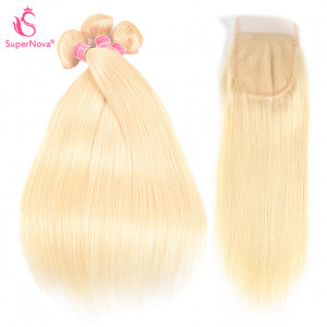 Straight Hair 613 Blonde Bundles With Lace Closure Honey Blonde