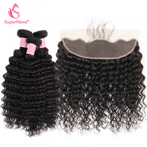 Human Hair Weave Deep Wave Weave 3 Bundles With Lace Frontal Virgin Hair