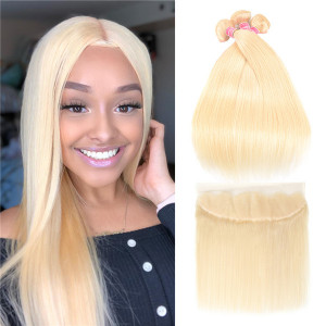 Straight Brazilian 613 Honey Blonde Hair Bundles With Frontal Remy Human Hair Weave 3 Bundles Deals With 13*4 Lace Closure Human Hair Weaves