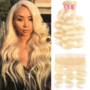613 blonde hair bundles with frontal