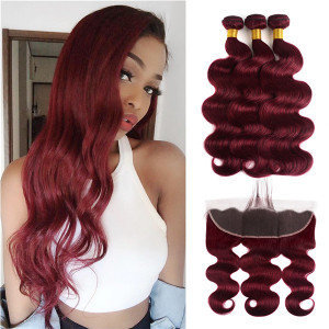 99J burgundy body wave hair