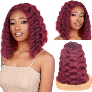 Burgundy 99J Color Crimp Deep Wave Lace Front Human Hair Bob Wigs