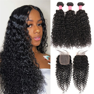 curly hair bundles with closure