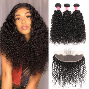 Curly hair bundles plus frontal