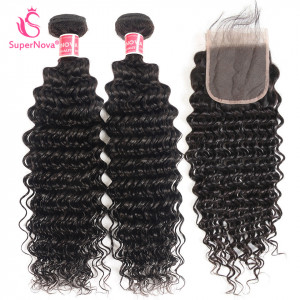 Deep Wave Hair Bundles with lace closure