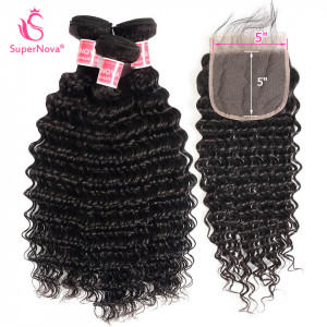 Deep wave hair bundles with closure