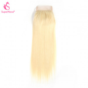 Honey Blonde #613 Straight Human Hair 4X4 Free Part Lace Closure