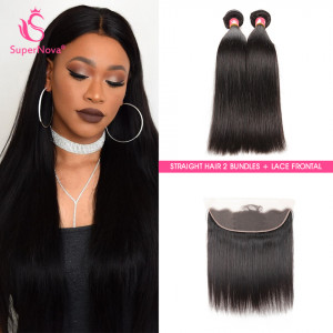 Malaysian Straight Virgin Human Hair Bundles With Lace Frontal