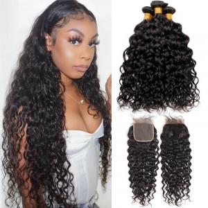 Natural Wave hair bunldes with closure