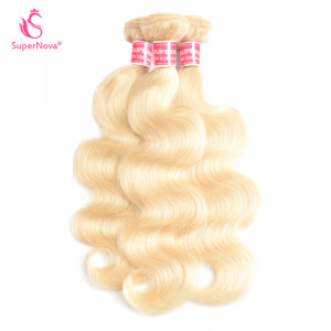 Color 613 Blonde Brazilian Virgin Human Body Wave Weave