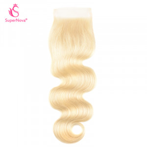 Body Wave Hair 613 Color Bleached Blonde 4x4 Lace Closure Free Part