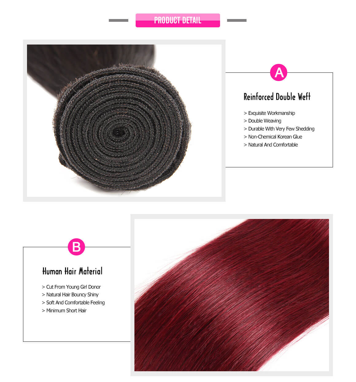 burgundy human hair bundles