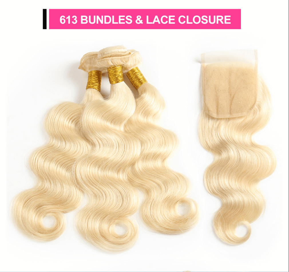 blonde bundles with closure