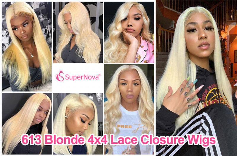 613 Blonde 4x4 Lace Closure Wigs