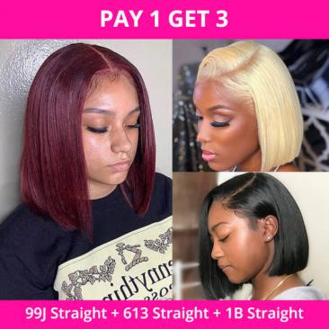 Pay one Get three straight bob wigs in different colors (99J, 613, 1B)