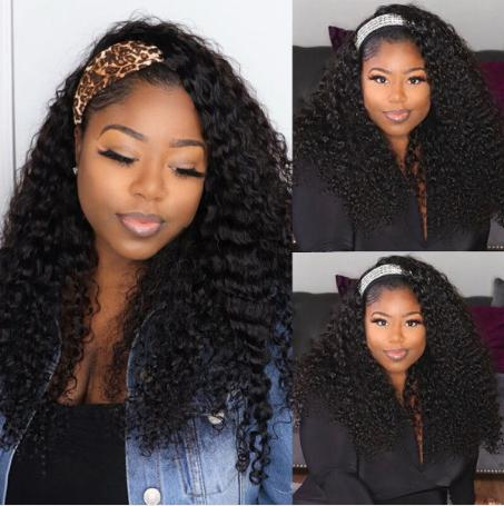 Curly Hair Natural Color Glueless Headband Wigs