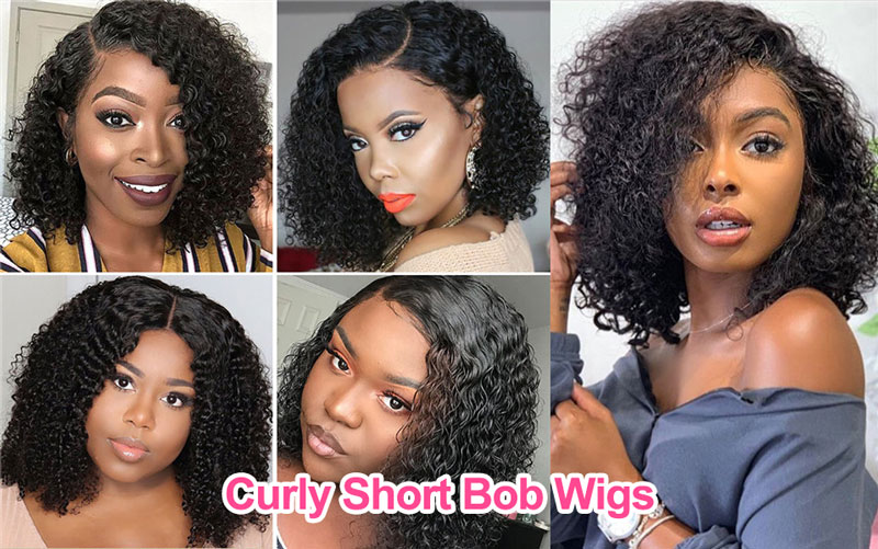 Curly Short Bob Lace Wigs
