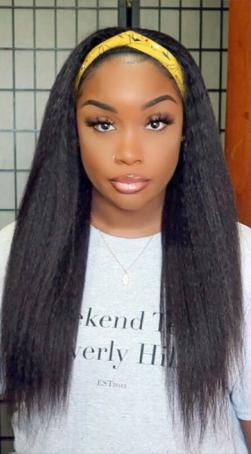 Yaki Straight Hair Glueless Headband Wig