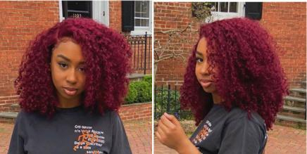 Burgundy Curly Human Hair Lace Front Wigs