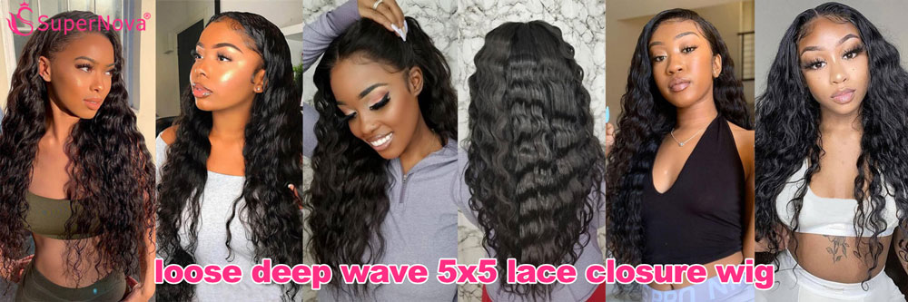 loose deep wave 5x5 lace closure wig