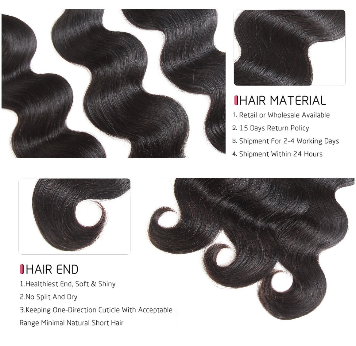 100 human hair bundles