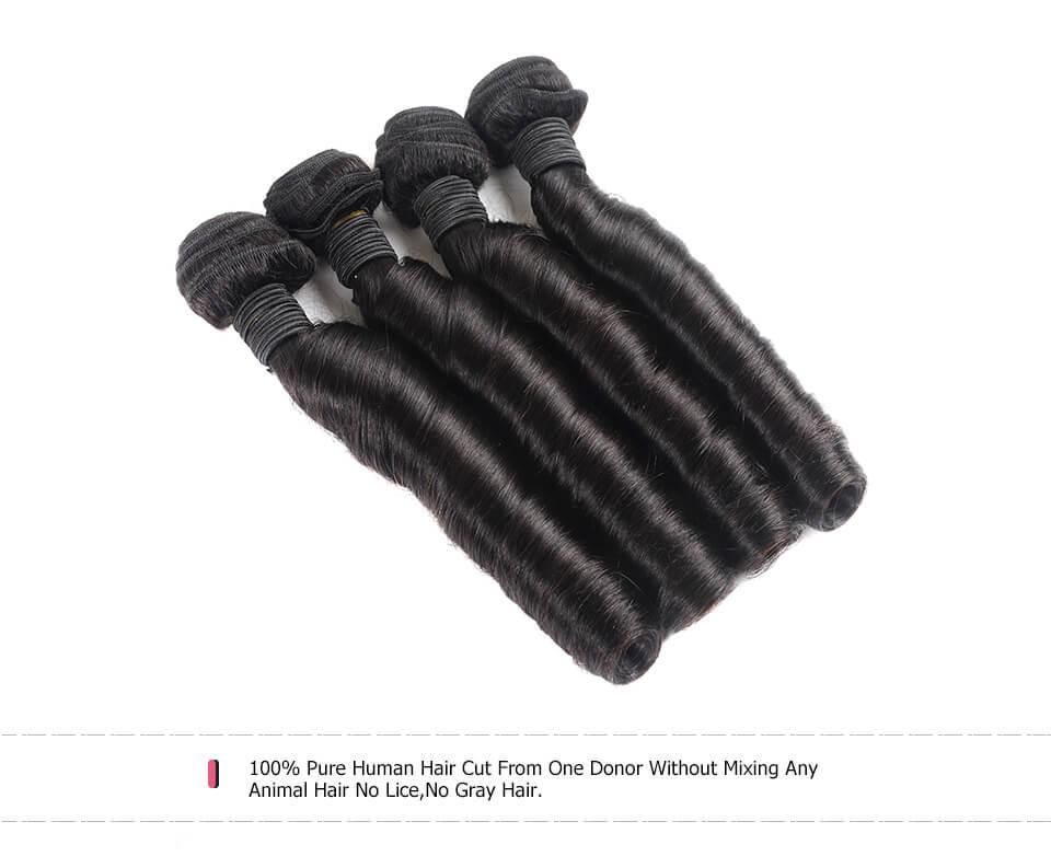 Weave Fumi Curls Virgin Human Hair Loose Wave 4 Bundles