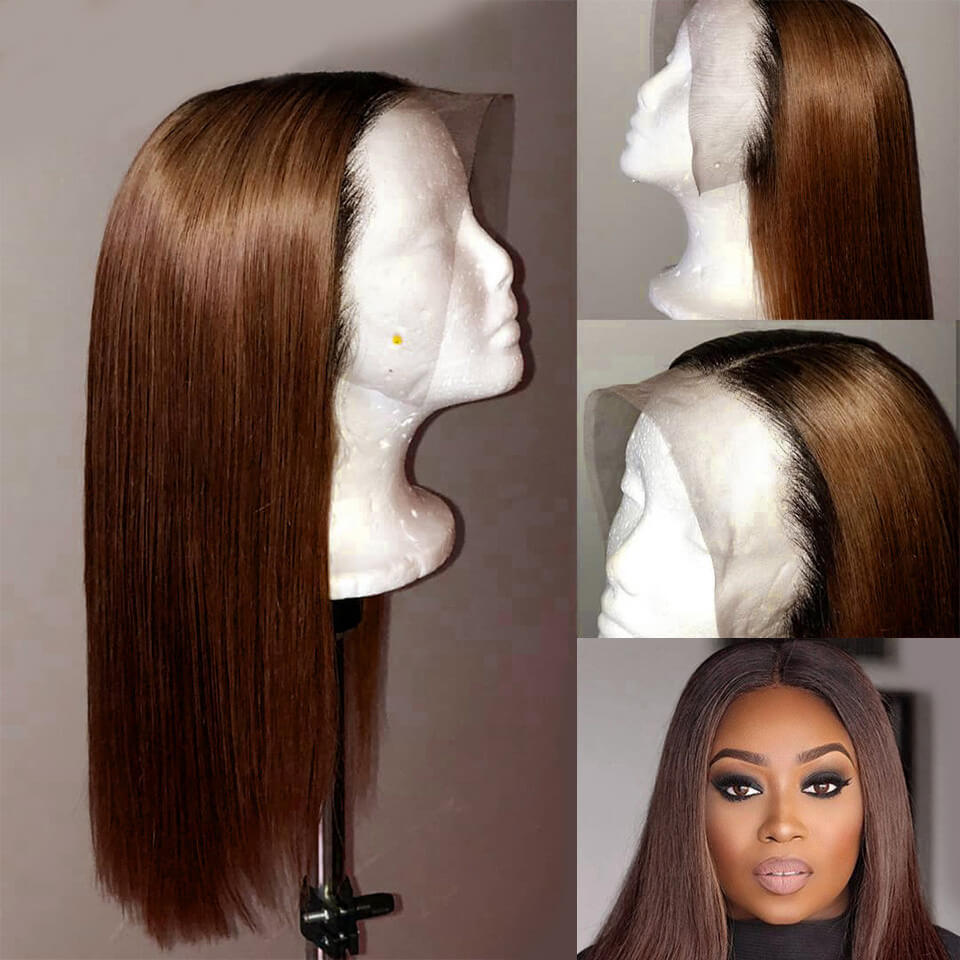 Colored Wigs Lace Frontal Wigs #4 Straight And Body Wave Human Hair Wigs