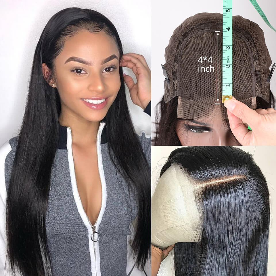 Straight Hair 4x4 Lace Closure Wigs For Black Women