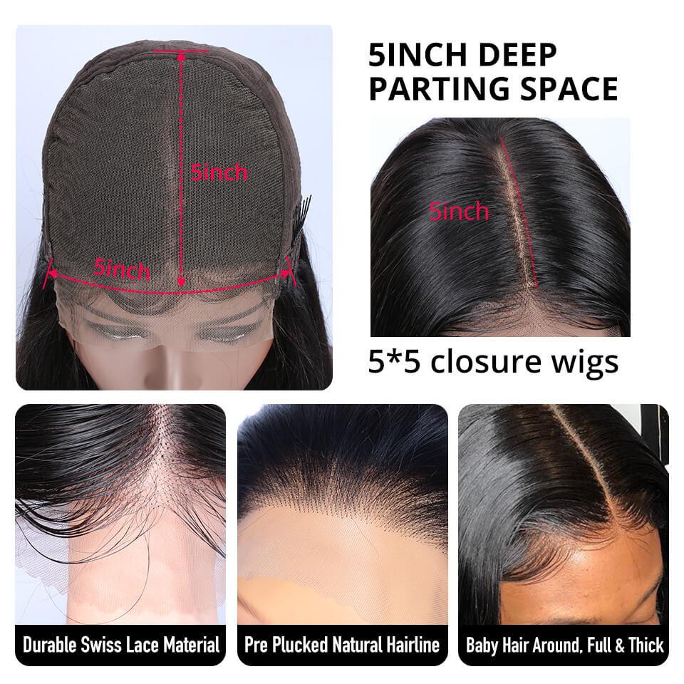 Human Hair Wigs Loose Deep Wave 5x5 Closure Wig Glueless Lace Wigs