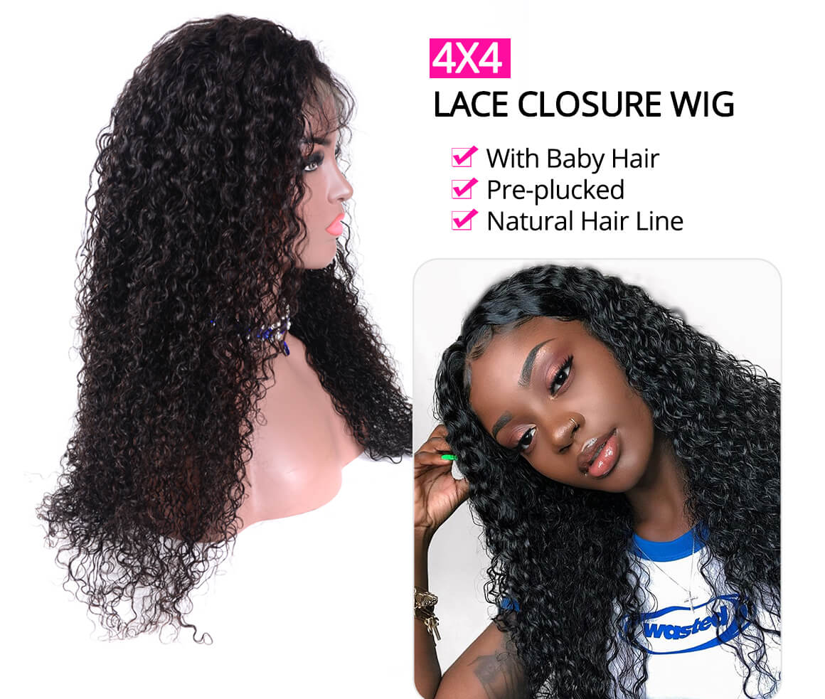 Curly 4x4 Inch Human Hair Lace Closure Wigs Pre Plucked