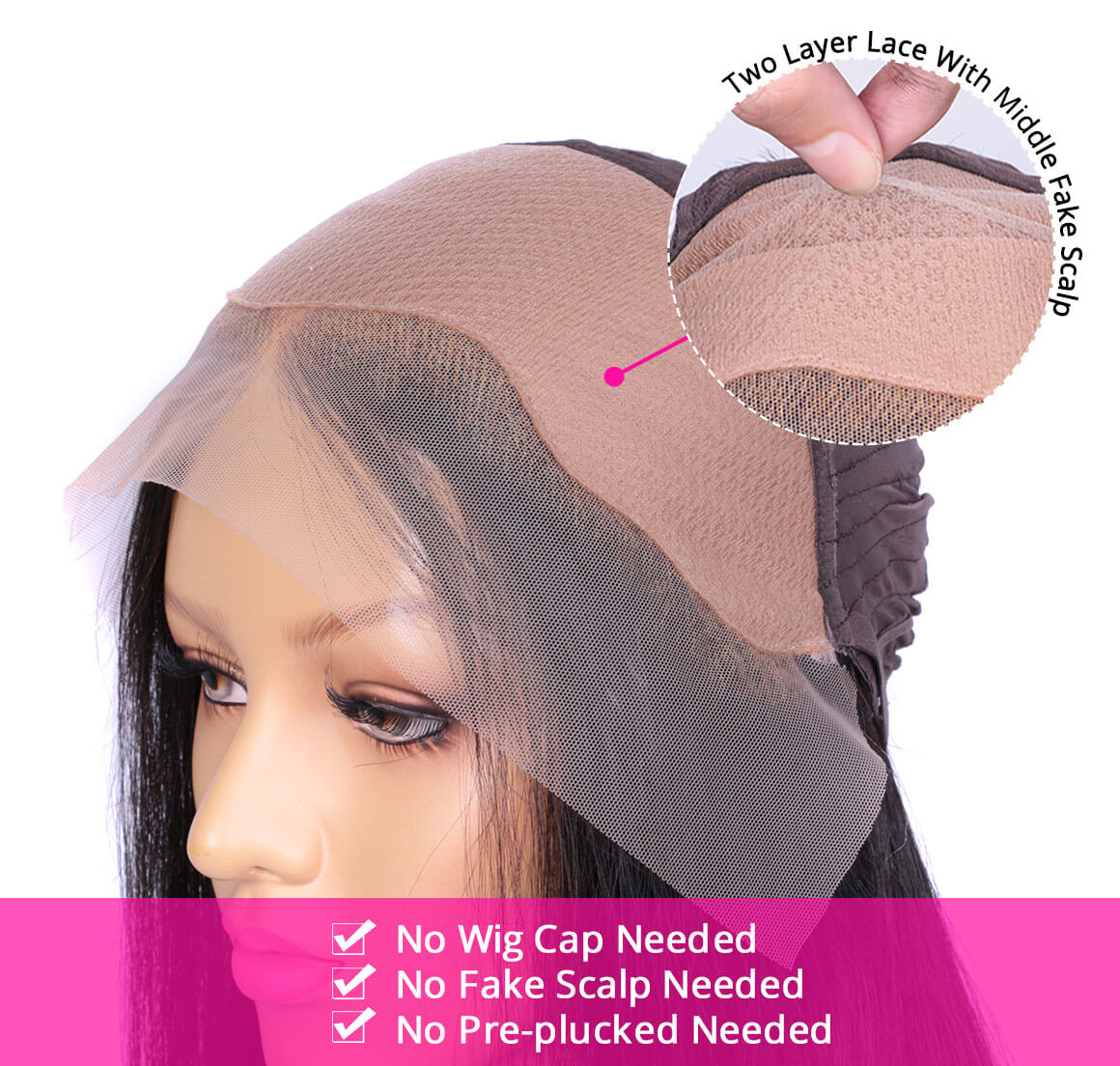 Body Wave Pre-Made Fake Scalp Wigs